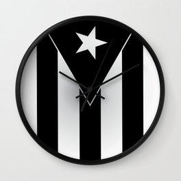 PUERTO RICO BLACK FLAG Wall Clock