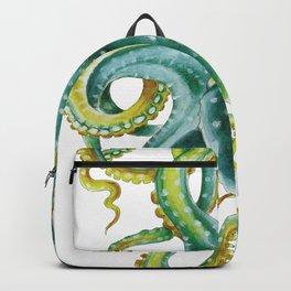 Octopus Tentacles Green Watercolor Art Backpack