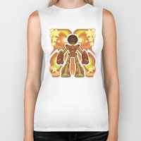 70s Biker Tanks featuring '70s Robot by Jim Nelson