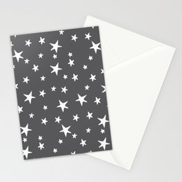 Stars - White on Gray Stationery Cards