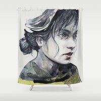 dragonfly Shower Curtains featuring Dragonfly by agnes-cecile