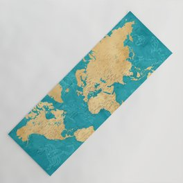 """Detailed wold map with zodiac constellations, """"Lexy"""" Yoga Mat"""