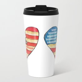 Torn Heart Flag Held Together With a Safety Pin Metal Travel Mug