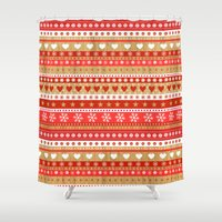 nordic Shower Curtains featuring Nordic Stripe by Faye Maguire Designs
