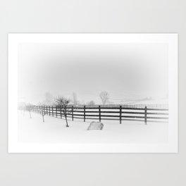 Horse Farm in Winter Storm,  Canandaigua 2014 Art Print