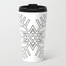Snowflake | Black and White Metal Travel Mug