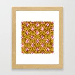 Dainty All Seeing Eye Pattern in Blush Framed Art Print