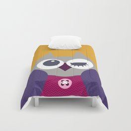 Yellow dotty owl Comforters