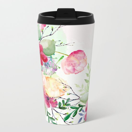 Vintage Flowers - Watercolor Floral Painting Metal Travel Mug