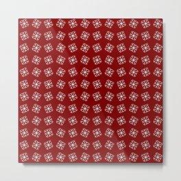 snowflake 13 For Christmas red Metal Print