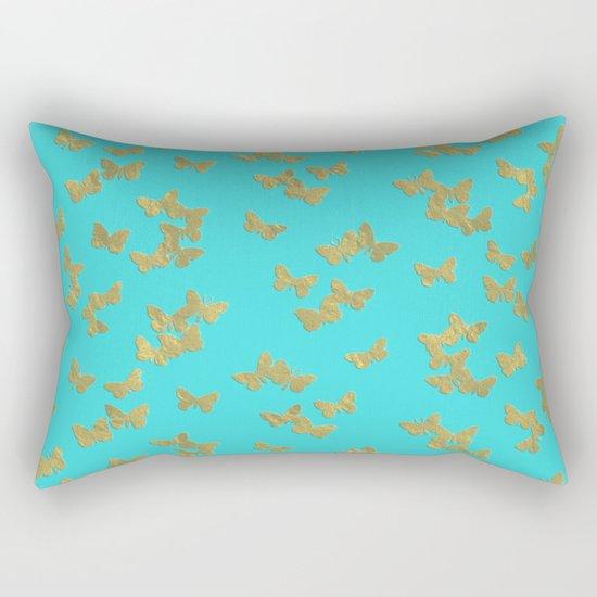 Gold glitter butterflies on aqua - Animal Insect Gold Glitter effect on #Society6 Rectangular Pillow