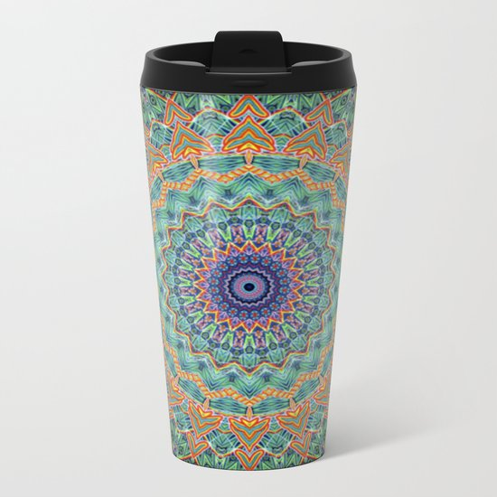 Travel Into Dimensions Mandala. Metal Travel Mug