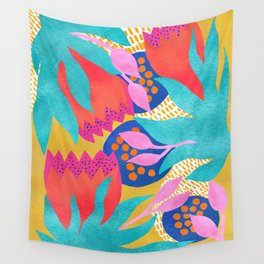 Bold Flower Pattern Yellow Background Wall Tapestry