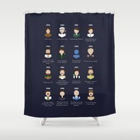robin williams Shower Curtains featuring The Faces of Robin Williams by Dorothy Leigh