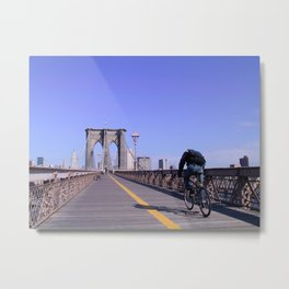 Brooklyn Bridge Bike Commuter Metal Print