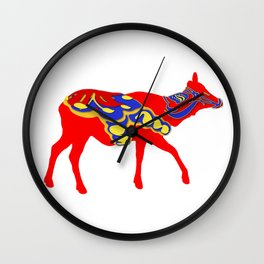 Graphic Elk 03 Swedish Dala Female Wall Clock