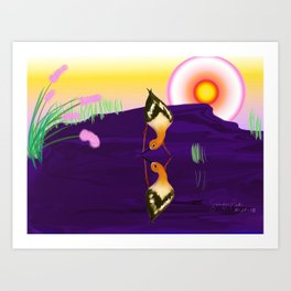 avocet pair Art Print