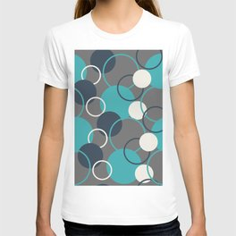 Teal Turquoise Aqua Dark Navy Blue and Alabaster White Solid Color Circles and Rings Pattern - Aquarium SW 6767 T-shirt