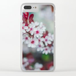 White Cherry Blossoms and Red Leaves Clear iPhone Case
