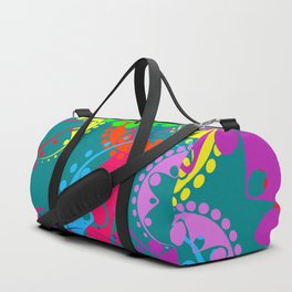 Texture of bright blue gears and laurel wreaths in kaleidoscope rainbow style. Duffle Bag
