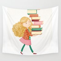 library Wall Tapestries featuring Library Girl 2 by Stephanie Fizer Coleman