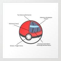 pokeball Art Prints featuring Pokeball Anatomy by Evan Luza
