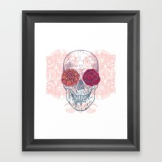 Double Flowers Skull Framed Art Print
