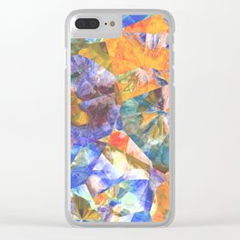 Azure Blue Orange Teal Colorful Polygon Mosaic Art Clear iPhone Case