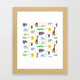 Wild african animals pattern Framed Art Print