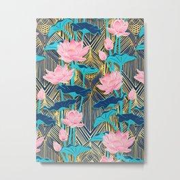 Art Deco Lotus Flowers in Pink & Navy Metal Print