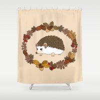 kawaii Shower Curtains featuring Kawaii hedgehog by Pendientera