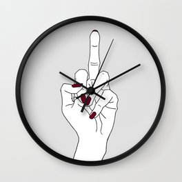 Hand showing the middle finger Wall Clock