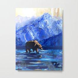 """Blue Bear"" Original, art, Bear Lover, bear art, bear painting, brown bear, nature, wildlife love... Metal Print"