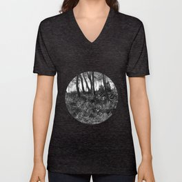Black and white country wicked forest Unisex V-Neck