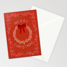 Merry Christmas Wreath Stationery Cards
