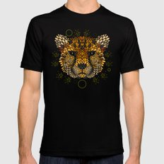 Cheetah Face Mens Fitted Tee Black MEDIUM