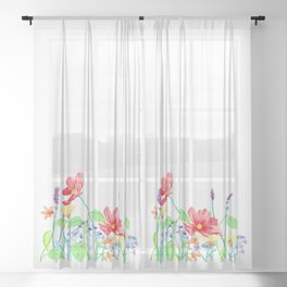 Floral Border - Jewel Colours Sheer Curtain