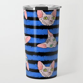 sphynx cats on blue and black Travel Mug