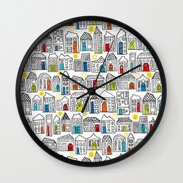 Happy Day in the City // Home Sweet Home in Quirky Neighborhood with Bright Smiling Sun Wall Clock