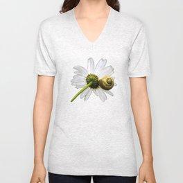 Daisy and snail Unisex V-Neck