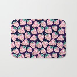 Pink Strawberry pattern on purple background Bath Mat