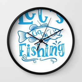 Fish Designs Let's Go Fishing Wall Clock