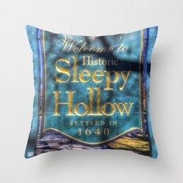 Sleepy Hollow Village Sign Throw Pillow