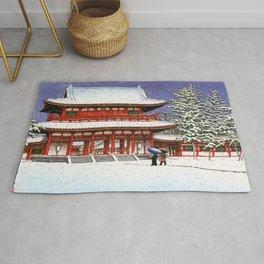 Kawase Hasui - Snow In The Heianjingu Shrine - Digital Remastered Edition Rug