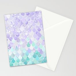 Mermaid Iridescent Purple and Teal Pattern Stationery Cards