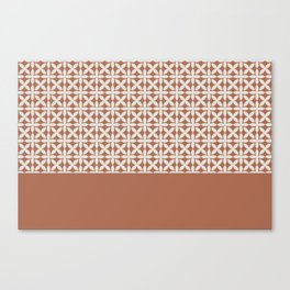 White Square Scroll Petal Pattern on Sherwin Williams Canyon Clay Canvas Print