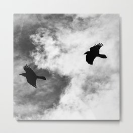 Raven in the Clouds Metal Print