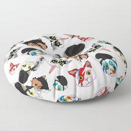 Pop Cats - Pattern on White Floor Pillow