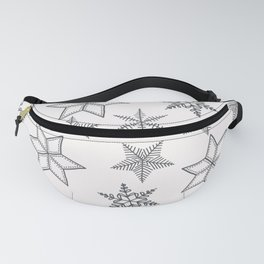 Grey Snowflakes On White Background Fanny Pack