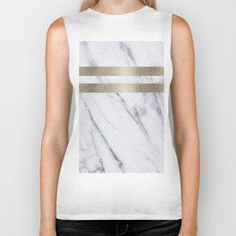 Smokey marble and gilded striped accents Biker Tank